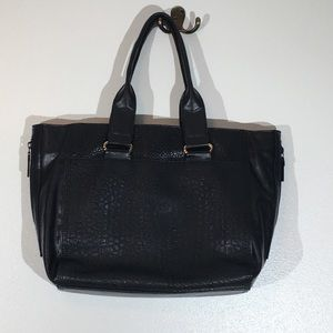 French Connection black leather satchel purse